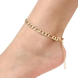 Wholesale 2019 Cuban Link Chain Anklet Summer Jewelry Foot Bracelet For Men Women 18K Real Gold Platinum Plated Simple Link Chain Barefoot Sandals