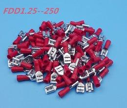 Vente en gros 1000Pcs Connecteur de borne à sertir rouge FDD1.25-250 6.3mm16-22 AWG isolé Femelle Spade Wire