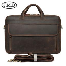 Computers 17 Inch Australia - J.M.D New Retro Crazy Horse Leather Men's Bag Large Briefcase 17 inch Computer Bag Handbag 7391