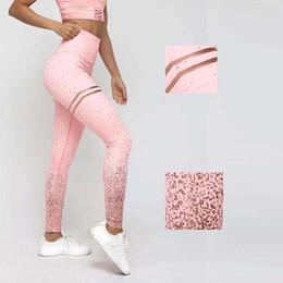 Pink Polyester Leggings Australia - 2019 New Yoga Leggings Women Polyester gold stamp Printed High Elastic Fitness Sport Leggings Tights Slim Running Sportswear Pants