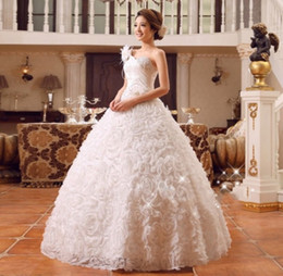 Ingrosso Abito da sposa monospalla Nuovo abito da sposa stile coreano Plus Size