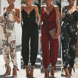 $enCountryForm.capitalKeyWord Australia - Women Sleeveless Retro Floral Jumpsuit Sexy Wrap V-neck Drawstring High Waist Rompers Side Split Long Pants Playsuit With Pocket MX190806