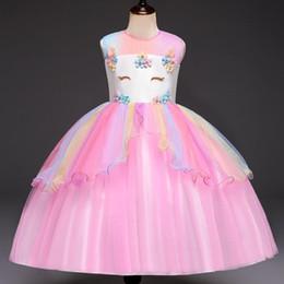 $enCountryForm.capitalKeyWord NZ - Girls Summer Clothes Unicorn Party Dress Kids Dresses For Wedding Flower Girl Frocks Children Elegant Girls Princess Dress 4-8Y
