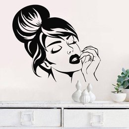 $enCountryForm.capitalKeyWord UK - Sexy Beautiful Girl Face Wall Sticker Beauty Salon Wall Decor Hairstyle Makeup Stickers Art Decal Girls Bedroom Decoration