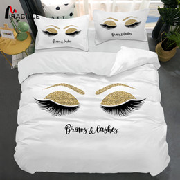 quilt set baby Canada - Miracille Eyelash Bed Linen Gold and Black Cute Eyes Pattern Bedding Set Quilt Cover Set 3 Piece Funny Duvet Covers for Home T200706
