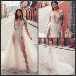 f535a2f09f2d 2019 New Julie Vino Wedding Dresses Sexy V Neck Bridal Gowns Two Sides  Split Tulle Illusion Princess Boho Beach Wedding Dress Cheap