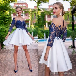 15 dresses red short NZ - 2020 Navy Blue Short Homecoming Prom Dress Sheer Neck A Line Button Back Long Sleeves Juniors Sweet 15 Graduation Cocktail Party Dress