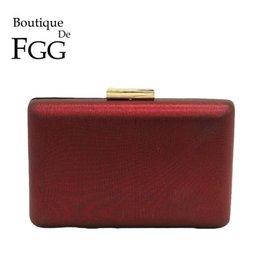 box handbags NZ - Boutique De Fgg Simple Design Red Pu Women Casual Evening Bag Box Clutch Purse Party Dinner Cocktail Handbag Chain Shoulder Bag J190630