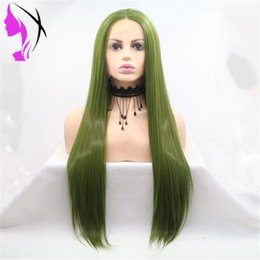 $enCountryForm.capitalKeyWord Australia - Fashion Style Green Pre Plucked 13x4 Lace Front Synthetic Wigs With Baby Hair Straight Hair Brazilian Cosplay Wigs for women