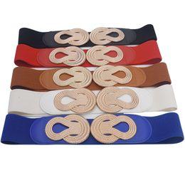 $enCountryForm.capitalKeyWord NZ - Retro metal buckle Elastic belts for woman wide fashion waist belts for dresses female women tops 2019 Skinny wide hot