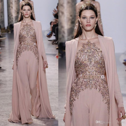 elie saab jacket Canada - Elie Saab 2019 Jumpsuits Prom Dresses With Cape Beaded Sequins Long Sleeve Formal Occasion Evening Dress