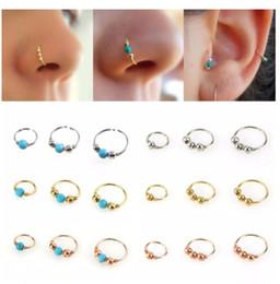 Vente en gros Mode ronde Rétro perles nez Anneau Narine corps Hoop Bijoux Piercing Septum Clicker Nez Anneau lèvres Tragus Piercing