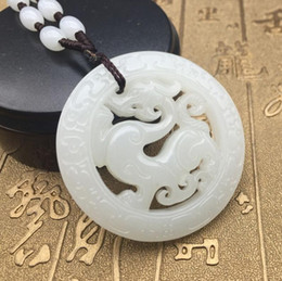 $enCountryForm.capitalKeyWord Australia - Afghan jade antique dragon jade pendant white jade zodiac dragon pendant men and women necklace chain male