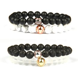 Wholesale Love Life Jewelry Baseball Beaded Bracelet mm Stone Beads Gold Silver Plated Energy Sport Bracelets For Gift