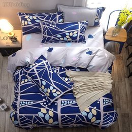 $enCountryForm.capitalKeyWord Australia - Home Textile Blue Tree Leaves Printed Bedding Set Bed Set Bedclothes Duvet Cover Bed Sheet Pillowcases Twin Full Queen King Size
