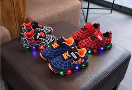 led canvas prints NZ - 2019 New Spring Spiderman Children Shoes With Light Kids Led Shoes Luminous Glowing Sneakers Baby Toddler Girls Antiskid Shoes