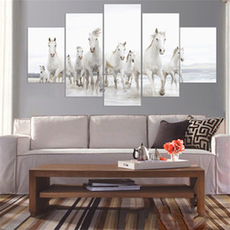 horses painting frame 2019 - Wall Art Modular Pictures Home Decor 5 Panel Stronger Horse Animal HD Printed Modern Canvas Painting For Living Room No