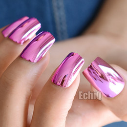 $enCountryForm.capitalKeyWord Australia - Sexy Fashion Hot Pink Rose Metal Fake Nails Metal Plate Punk Style Metallic Long False Nail for Party or Gift