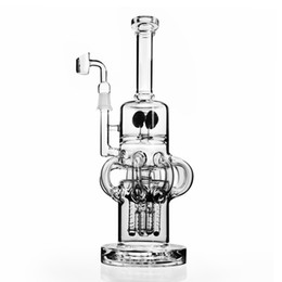 Rigs Bongs Australia - 12.6 inchs tall big Glass Bubbler dabber thick glass bongs water pipe chicha Oil Rigs ashcatcher recycler bong with 14mm bowl piece