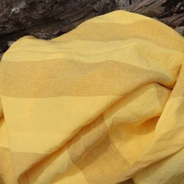flax clothing NZ - High quality pure flax material Yellow Wide Vertical Bar tissus Yarn dyed weaving fabric High-end dresses, clothes patchwork