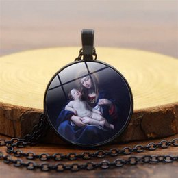 Glasses Trade Australia - Foreign trade hot accessories Virgin Mary time gemstone necklace Religious new pendant necklace Necklace jewelry wholesale