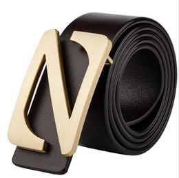 Z Buckle Leather Belt UK - Retro leather belt men's leather bronze buckle waistband top cowhide letter Z smooth buckle leisure Korean version youth belt