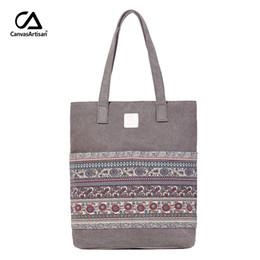 $enCountryForm.capitalKeyWord Australia - Canvasartisan Brand New Canvas Women Handbags Floral Vintage Female Shopping Shoulder Bag Zipper Closure Tote Hand Bags J190627