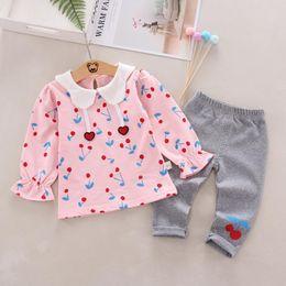 $enCountryForm.capitalKeyWord Australia - 2pcs Baby clothes Girls set Autumn Floral Cherry Print Long Sleeve T-shirt Blouse Cotton Trousers Bottoms Casual Outfits suit
