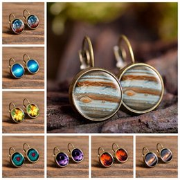 galaxy stud UK - Cheap Stud 2019 New Fashion Jewelry Galaxy Space Stud Earrings Glass Cabochon Jupiter Planet Art Photo Round Earrings Women Creative Gifts