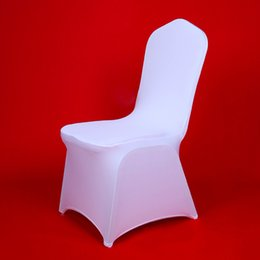 $enCountryForm.capitalKeyWord Australia - Best 100pcs Cheap Hotel White Lycra Spandex Chair Covers For Weddings Party Christmas Banquet Dining Office Stretch Chair Cover T8190617