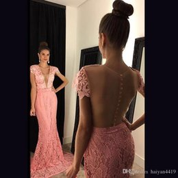 $enCountryForm.capitalKeyWord Australia - Pink Mermaid Prom Dresses Deep V Neck Short Sleeves Illusion Sheer Open Back Full Lace Appliques Party Dresses Plus Size Evening Gowns
