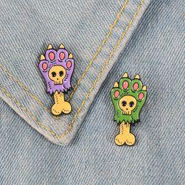 $enCountryForm.capitalKeyWord Australia - Dog Cat Paw Bone Enamel Pin Cartoon Skeleton badge brooch Lapel pin Denim Shirt bag Collar Animal Bone Jewelry Gift for Friends