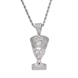 egyptian pendants UK - Bling Bling CZ Jewelry Egyptian Pharaoh Pendant Iced Out Cubic Zircon Necklace Hip Hop gift Jewelry drop jewelry