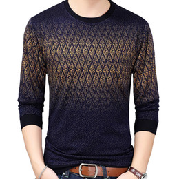 Wholesale argyle sweater men resale online - Argyle Pullover Men Sweater Nice Casual Autumn Sweaters Men Thin Slim O Neck Cotton Knitwear Pullover Sweater Plus Size XL