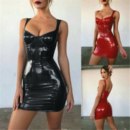 Wholesale mini faux leather party dress resale online - Leather Summer Dress Sheath Bling Sexy Women Women Dress Latex Faux Bodycon Evening Party Clubwear Strappy Mini Sexy Slim