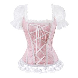 corset tops for women NZ - floral overbust corset vest bustier corset tops for women with sleeves lace up brocade shoulder strap corselet plus size sexy