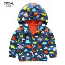Boys Dinosaur Jacket Australia - 80-120cm Cute Dinosaur Spring Children Coat Autumn Kids Jacket Boys Outerwear Coats Active Boy Windbreaker Baby Clothes Clothing