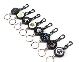 Anti Theft Car Australia - High resilience telescopic wire rope key chain anti-loss, anti-theft, telescopic key ring anti-loss key chain easy to pull buckle