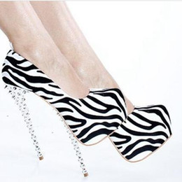 Platforms Shoes For Women Australia - Zebra Dress Shoes Thin High Heels With Exaggerated Rivet Platforms Shoes Women 16cm High Stiletto Heel Pumps Ladies Shoes For Women Pumps