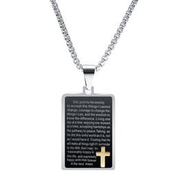 Vintage Jesus Pendant Australia - New Christian Jesus Cross Vintage Smear Religious Texts Stainless Steel Black Rectangle Pendant Necklace Gifts for Men and Women Wholesale
