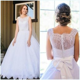 $enCountryForm.capitalKeyWord NZ - Plus Size a Line Wedding Dresses With Sash Beaded Custom Made Sash Beaded Bow Back Cover Button Floor Length Lace Bridal Gown cheap