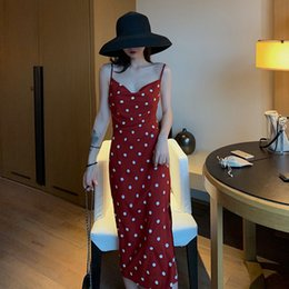 Wholesale Black Red summer young lady sling dress polka dot v neck side split female mid calf chiffon dress women empire sheath