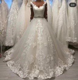 v corset wedding dress UK - vestidos de novia Princess Appliques Lace Ball Gown Wedding Dresses Sheer Long Sleeves V Neck Corset Back Long Bridal Gowns Robe de Mariage