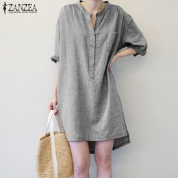 Kimono Long Femme NZ - 2019 Autumn Zanzea Women Stand Collar Striped Long Shirt Dress Cotton Linen Long Sleeve Sexy Mini Vestido Casual Work Robe Femme Y190427