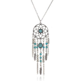 coin links UK - Vintage Retro Street Beat Feather Turquoise Beads Pendant Dreamcatcher Tassel Sweater Chains Necklaces Costume Accessories Jewelry For Women