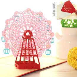 3d cards festivals UK - 3D Card Ferris Wheel Paper Cutting Greeting Card Creative -up Gift Papercraft Festival Christmas Birthday Gifts