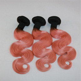 $enCountryForm.capitalKeyWord Australia - Dark Roots Rose Gold Human Hair Weaves 3 Bundles Human Hair Weaves Body Wave Virgin Malaysian Ombre Hair Extensions For Sale