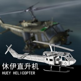 Toy 3d Helicopter Australia - Huey Helicopter Metal Stainless Steel Diy Assemble Model 3D Nano Puzzle Educational Toys Collecting Art Decoration