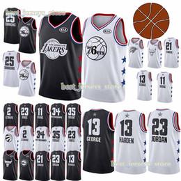 691af2186 All- jersey-star 13 Harden 2 Leonard 13 George 21 Embiid 3 Wade 25 Rose 25  Simmons Basketball Jerseys 2019
