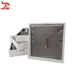 pendant trays Australia - New Grey PU Earring Necklace Case Multifunctional Jewelry Display Tray Portable Pendant Storage Display Accessorie Bijoux Box